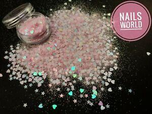 Nail Art Glitter HEART STAR Light Pink Holographic 3D SHAPE Sequins Valentines