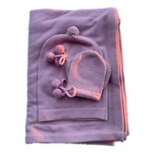 100% PURE WOOLEN BABY BLANKET MUSLIN SOFT SWADDLE HAND KNITTED BABY WRAP 3PC SET