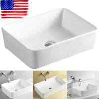 Modern Rectangle Above Counter Porcelain Ceramic Bathroom Vessel Sink US STOCK