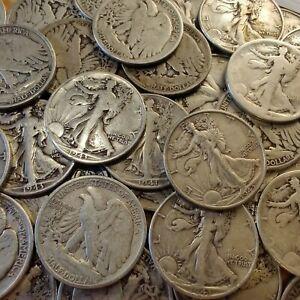Walking Liberty Half Dollars - 90% Silver Coins - Circulated - Choose How Many!