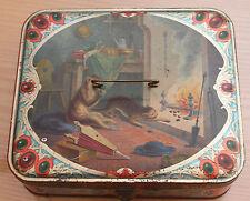 ancienne grande  boite de biscuit décor de singe et chat
