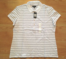 NWT Women's THE LIMITED White Black Stripe Polo Button Up Short Slv Shirt Small