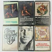 Lot of 6 Country Music Cassette Tapes: Allman Brothers & Kenny Rogers