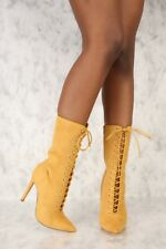 733f2e8f534 Womens Camel Brown Faux Suede Pointy Toe Lace Up Mid Calf Boots