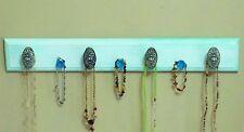 "Handmade Necklace Hanger ""Wood"" - Aqua ""Weathered Look"" w/Decorative Knobs"
