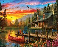 Springbok's 1000 Piece Jigsaw Puzzle Cabin Evening Sunset