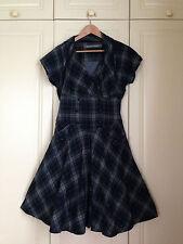 BOLONGARO TREVOR tartan check fit & flare full skirt dress all saints westwood M