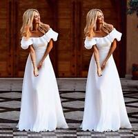 Women's Maxi Boho Summer Beach Long Dress Evening Cocktail Party White Dresses