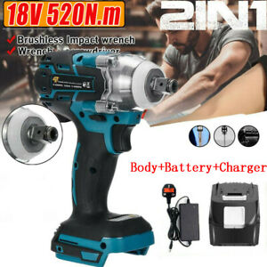 Brushless Cordless Impact Wrench Drive Ratchet Gun + Charger + Battery