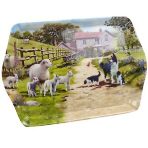 Border Collie Dog/Puppies with Sheep/Lambs Mini Serving Tray