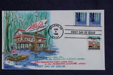 Wetlands 5c & Diner 25c Stamps Dual FDC Bennett Cach Sc#3207-08 Scenes & Culture