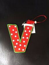 Christmas theme ornaments/monogram Letter V red green with Santa hat NWT