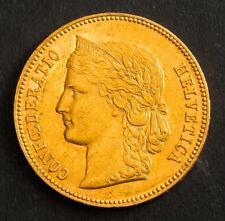 1890, Switzerland (Confederation). Gold 20 Francs (20 Franken) Coin. 6.43gm!
