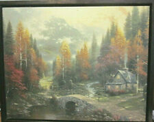 THE VALLEY OF PEACE - THOMAS KINKADE - RUSTIC CABIN BY WATER