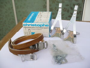 NOS Vintage Christophe toe clips set 496c Medium size NIB France no61ca