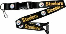 NFL Pittsburgh Steelers Black Lanyard Keychain Officially Licensed Aminco 22""