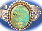 NATIVE AMERICAN NAVAJO STERLING SILVER turquoise Cuff Bracelet by Jeanette Dale