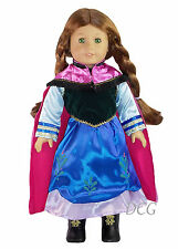 AFW SET FROZEN INSPIRED ANNA DRESS #270 W/ PINK CAPE & BOOTS for Doll Dress NEW