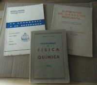 Lote de tres antiguos libros, Geografía, Derecho Mercantíl, física Química
