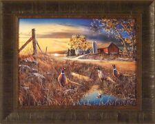 ROADSIDE by Jim Hansel 17x21 Pheasants Roosters Barn Farm FRAMED PRINT PICTURE