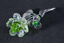 LAYING GREEN CRYSTAL & METAL STEM ROSE ORNAMENT GIFT FLOWER- New in box