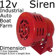 RED 12V dc Motor SIREN alarm LOUD horn Security alert DIY - Metal Body Mouting