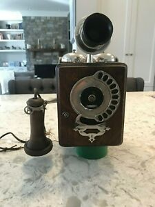 Vintage 1905 Antique Automatic Telephone Co. 11 Digit Dial Wood Wall Phone