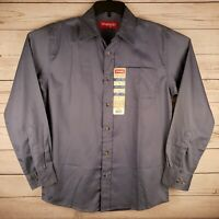 Wrangler Mens Small Easy Care Long Sleeve Gray Button up Shirt NEW