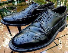 Men's Vtg Black Wing Tip Shoes Hanover Usa All Leather Oxfords 10.5 Db