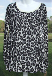 DKNY CASUAL BLACK WHITE MULTI LEOPARD ANIMAL PRINT COTTON LONG SLEEVE TOP S NEW