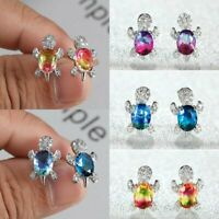 925 Silver Crystal Zircon Rainbow Turtle Animals Earrings Stud Women Party Gift