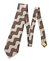 Bugatchi Uomo Wavy Gray Brown Men's 100% Silk Neck Tie