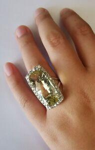 13.2 CTW Quartz and Genuine Diamonds 14K white gold Cocktail RING!! Heavy 11.0g!