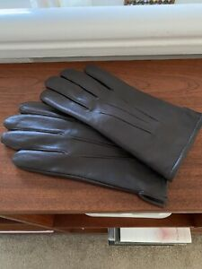 B2 John Lewis Mens 100/% Leather /& Cashmere Lined Glove Brown Tan /& Black Navy