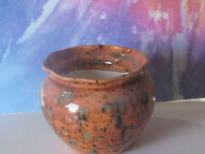 Small Brown With Green And Black Stops African Violet Ceramic Pot/Planter