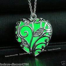 Brillante Verde Collares Corazón De Plata Colgantes Navidad Para Ella Mamá