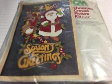 "Columbia Minerva 1977 Christmas Crewel Picture Kit ""Santa Claus"" Hallmark #7854"