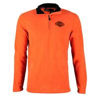 Harley-Davidson® Men's 1/4-Zip Logo Orange Fleece Sweatshirt 99002-15VM