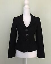 Nanette Lepore Blazer Size 4 Black Textured Ruffle Pockets Cotton Career Work
