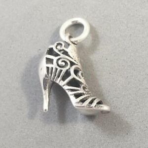.925 Sterling Silver 3-D HIGH HEEL LACE ANKLE BOOT Charm Shoe Stiletto 925 DU33