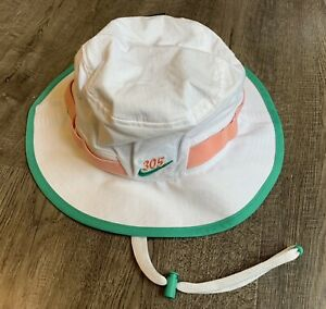 Nike Dri-Fit Miami 305 Dade Canes Dolphins Pink Teal Bucket Sz M Hat CW6032-100