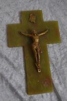 ANCIENNE CRUCIFIX ONYX ET BRONZE VERT LE CHRIST JESUS