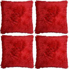 4 X Faux Fur Cushion Cover Super Soft & Cuddly 43x43cm in 10 Colours Long Pile Red 10-029x4