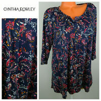 Cynthia Rowley 1X 16 18 Top Tunic Shirt Blue Floral Boho Festival Flowy   pp