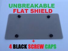 UNBREAKABLE Flat License Plate Smoke Shield Cover + 4 Black Screw Caps for ISUZU