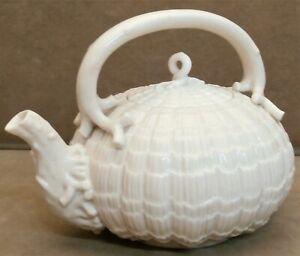 Belleek Pottery Tridacna Pattern Tea Kettle - First Period - Made In Ireland