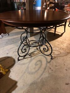 Rare Ethan Allen French Country Maple Iron Base Dining Table/Leaf 4 Chairs