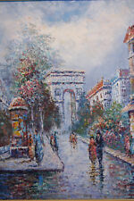 Original Oil Painting, Paris by Mario Furray 26 x 30 inches with Frame