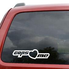 "Cops Love Me JDM Car Window Decor Vinyl Decal Sticker- 6"" Wide White"