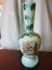 "Bristol Glass Vase Enamel Hand Painted 10"" Tall Antique Vintage Victorian"